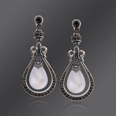 Scott Kay Black Spinel and Chalcedony Earrings in Sterling Silver