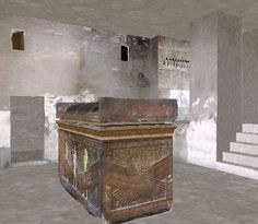 KV 57 Burial Chamber with Royal Sarcophagus of red granite. Tomb of Horemheb, Dynasty 19. © OSIRISNET.NET