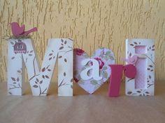 Nome Decorativo  Ideal para decorar mesa de casamento, aniversário, chá de panela, chá de bebê, decorar quartinhos e muito mais.  Decore quartos infantis, aquele cantinho super legal de casa ou mesmo presenteie.  Para oraçamento, nos envie o nome, cores desejadas e cep.