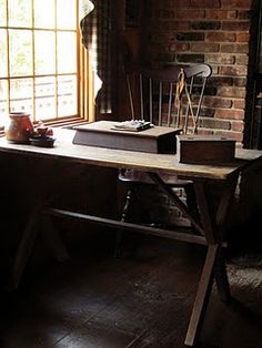 Primitive Desk w/ Windsor Chair Wide Plank Flooring, Hearth And Home, Country Decor, Country Living, Decor Styles, Sweet Home, Primitives, Interior, Primitive Decor