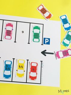 A simple car game to learn to count from 1 to 10 by parking them sees . Educational Activities, Learning Activities, Kids Learning, Activities For Kids, Preschool Math, Kindergarten Math, Learn To Count, Teaching French, Math Centers