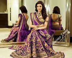 Gorgeous Bridal Lehnga - Purple And Golden Semi Stitched Bridal Lehnga With Embroidery Peal And Jhumka Work. Stunning Collections For Wedding, Party, Festival, Special Occasion - Semi Stitched, Blouse - Ready to Stitch