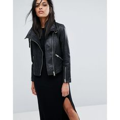 1ebd5d3e00eef AllSaints Lewin Leather Biker Jacket (607 CAD) ❤ liked on Polyvore  featuring outerwear