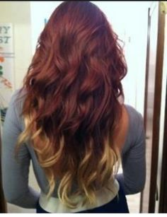 Red Asian hair with blonde ombre...going to try to attempt the red part :) love this so wish me luck