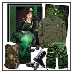 """""""Grass Green Zipper Fly Camouflage Stud Embellished Cargo Shorts"""" by carola-corana ❤ liked on Polyvore featuring men's fashion and menswear"""