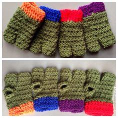 Teenage Mutant Ninja Turtle inspired gloves. 3 fingered    Up for sale in the @CreatyphDesigns @Etsy.com Shop  Link ---->  https://www.etsy.com/listing/214703622/teenage-mutant-ninja-turtle-gloves