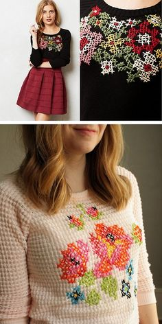 DIY Cross Stitch Sweater Tutorial from Uber Chic for Cheap. She picked a sweater with a waffle...