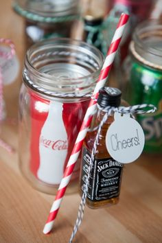 DIY // Cocktail Mason Jar Gift could do jack and coke,jack and ginger, seven and seven. Homemade Christmas Gifts, Homemade Gifts, Christmas Diy, Diy Gifts, Xmas, Holiday Gifts, Holiday Fun, Cash Gifts, Diy Presents