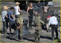 Angelina Jolie on the set of the 'Unbroken' movie at the docks precinct, Cockatoo Island.