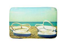 Flip Flops Beach Bath Mat: http://www.beachblissdesigns.com/2015/07/nautical-coastal-ocean-seashell-beach-bath-mats.html