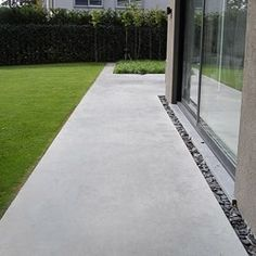 the hardscape can be simple but have some modern detail for accents and to define boundaries - like separating the driveway from the gravel maintenance access drive Concrete Patios, Outdoor Paving, Outdoor Gardens, Patio Design, Garden Design, Landscape Architecture, Landscape Design, House Foundation, Garden Paths