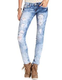 Machine Jeans Marble Wash Skinny Jean: Charlotte Russe