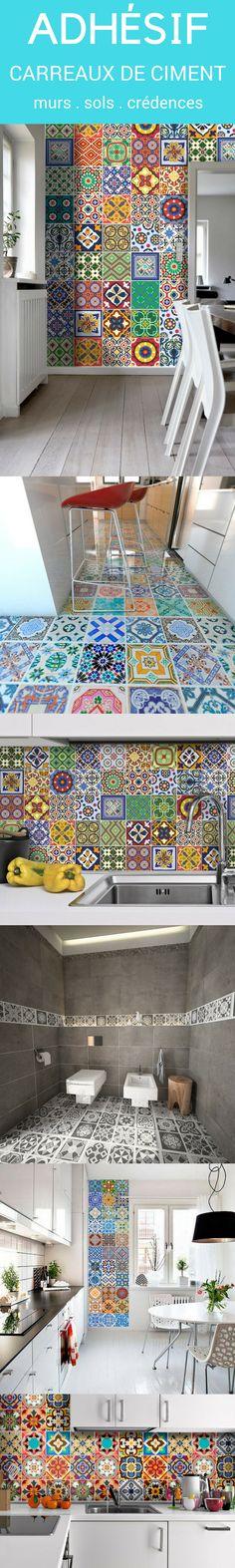 Adhésif carreaux de ciment pour la cuisine, la salle de bains, les escaliers. Pour des surfaces comme le sol, les murs, les crédences, les contremarches,...