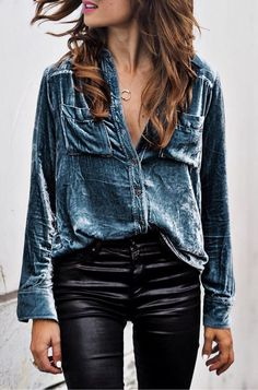 #fall #outfits · Denim Shirt + Leather Pants