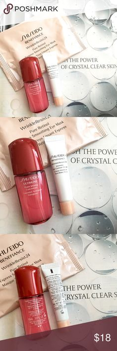 SHISEIDO skin care lot. Brand New products. Contains Express smoothing eye mask -ultimune power infusing concentrate 10ml - Eye contour cream 5ml. 15%off bundles. I don't trade. Makeup