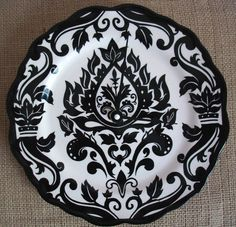 Damask ClockBlack and WhiteA Unique Birthday by BurlapAndBlue, $25.00...I want to take off the hands and paint them hot pink :D