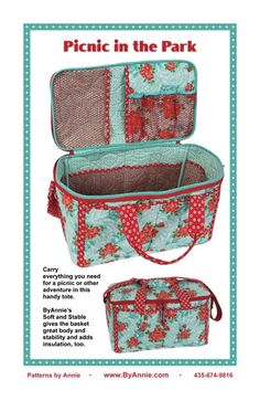 Schnittmuster - Picnic in the Park - patterns Bag Patterns To Sew, Sewing Patterns, Sewing Hacks, Sewing Projects, Ocean Fabric, Boite A Lunch, Picnic Bag, Picnic Baskets, Picnic Time