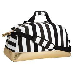 The Emily & Meritt Black/White Stripe Duffle | PBteen
