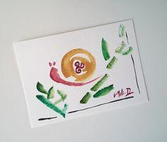 """NOUVEAU-Carte postale unique aquarelle """"L escargot"""" japonais breton marron rouge : Cartes par milid"""