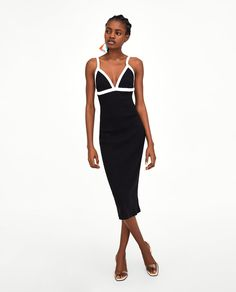Image 1 de ROBE CÔTELÉE de Zara Ribbed Dress, Zara United States, Jumpsuit Dress, Spring Summer 2018, Zara Women, Cheap Fashion, Ideias Fashion, Cold Shoulder Dress, Denim