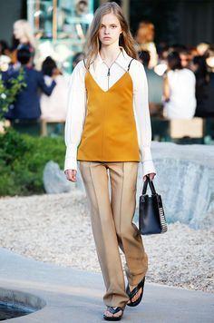 Louis Vuitton Resort 2016 // Layer a long-sleeve blouse underneath a camisole for a '70s-inspired take on the two pieces