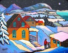 L'Hiver aux Éboulements par Louise Marion - Louise Marion, artiste peintre, paysage urbain, Quebec, couleurs
