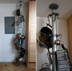 Some people are so clever.. a pot rack that doesn't have to be screwed in, with parts from IKEA!