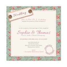 Buttons & Roses Wedding Invitations