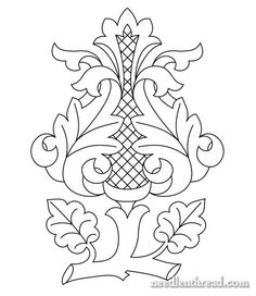 Free hand embroidery pattern - Rococo Bud
