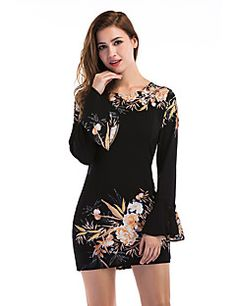 18.89  Women s Flare Sleeve Daily   Holiday   Going out Street chic Mini  Sheath Dress - Floral Black Fall Black M L XL   Club   Slim 507f9ac17611