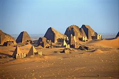Pyramids of Meroe (UNESCO World Heritage Site), Sudan - heartland of the Kingdom of Kush, a major power from the 8th century B.C. to the 4th century A.D. The property consists of the royal city at Meroe, the nearby religious site of Naqa and Musawwarat es Sufra. It was the seat of the rulers who occupied Egypt for close to a century whose empire extended from the Mediterranean to the heart of Africa.