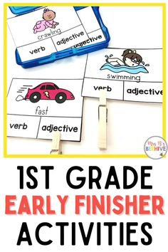 Give your students early finisher activities that are engaging and educational. These task cards are meant to be done independently to help free up your teacher time for those students who need assistance!Help students increase verb and adjective recognition with these first grade task cards. Early Finishers Activities, Fast Finishers, Home Schooling, Kindergarten Classroom, Your Teacher, Word Problems, Beehive, Guided Reading, Task Cards