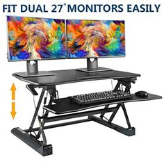 SITA-OFFICE Standing Desk Height Adjustable Sit Stand Up Desk Riser Stand Fits Dual Monitors Adjustable Standing Desk Converter Topper Black 36'' x 31'' Best Standing Desk, Standing Desk Height, Standing Desks, Adjustable Standing Desk Converter, Adjustable Height Desk, Desk Riser, Stand Up Desk, Drafting Desk, Monitor
