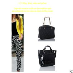 LiChiq bags combined with a black, white and yellow outfit!