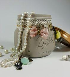 Vanity Mason Jar with Knob, Grey, Shabby Chic, Bridesmaid Gift, Bridal, Gift for Her, Jewellery Storage, Trinket Jar, Potpourri Holder by ShabbyChicRetreat on Etsy