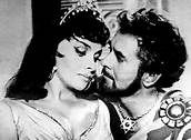 Gina Lollobrigida pictured as the Queen of Sheba, with Tyrone Power ... whom moviegoers never got to see as King David. Yul Brynner was called in to replace him when 44 year old Tyrone suddenly collapsed and died of a heart attack during filming in Spain. Read the article here: http://www.tyrone-power.com/article_farewell.html