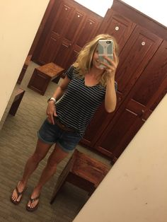 Casual, Everyday Summer Outfit - Navy Stripe Caslon Relaxed Slub Knt U-Neck Tee, STS Blue Roll Cuff Denim Shorts (West Dockweiler), TOMS Solana Flip Flops - all from Nordstrom