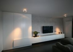 tv kast op maat - Google Search Living Room Tv, Interior Design Living Room, Home And Living, Living Room Designs, Tv Wall Design, House Design, Muebles Living, Tv Wall Decor, Home Furniture