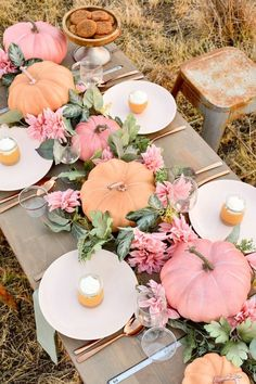 Pumpkin Floral Blush Tablescape (+ Pumpkin Cheesecake Recipe Fall Pumpkin Floral Blush & Pink Tablescape (+ Pumpkin Cheesecake Recipe) by Kara's Party Ideas!Fall Pumpkin Floral Blush & Pink Tablescape (+ Pumpkin Cheesecake Recipe) by Kara's Party Ideas! Pumpkin 1st Birthdays, Pumpkin First Birthday, Girl First Birthday, Pink Pumpkins, Fall Pumpkins, Wedding Pumpkins, Baby In Pumpkin, Little Pumpkin, Pink Pumpkin Party
