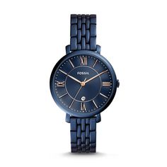 Designed for the tomgirl with a hint of glam, Jacqueline is the watch that pulls it all together. A classic blue stainless steel band, dial and case mirror the night sky, making it her ultimate timepiece of the season.