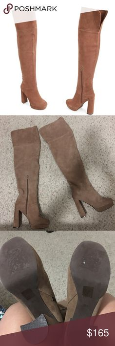 """Jeffrey Campbell 'Destino' Over The Knee Platform Add a glamorous, self-confident element to your around-town style with an over-the-knee boot featuring a lofty platform sole, sky high retro heel, and a rounded off square toe. New without box. Never been worn. 4 1/2"""" inch heel. 1"""" inch platform. 21 1/2"""" inch boot shaft. 15"""" calf circumference. Inset side zip closure. Leather upper/leather and textile lining/synthetic sole. 🚫NO TRADES🚫✅Accepting Reasonable Offers✅🚫Low ball offers will be…"""