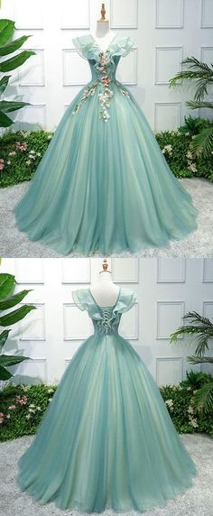 Green tulle lace long prom dress, green evening dress from of girl Green Evening Dress, Evening Dresses With Sleeves, Formal Evening Dresses, Elegant Dresses, Pretty Dresses, Sexy Dresses, Beautiful Dresses, Prom Dresses, Wedding Dresses