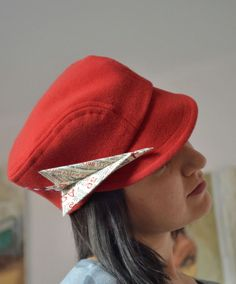 Fall Newsboy Hat with Origami Fabric Plane by greenaccordion