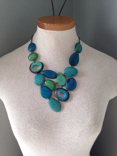Tagua nut jewelry // turquoise necklace // tagua by SelaDesigns, $78.00