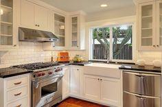Subway tile, Farmhouse, Traditional, Soapstone, Glass, Flat Panel, L-Shaped