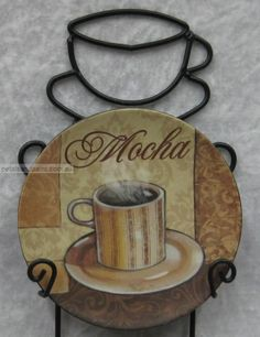 4 Coffee Mini Display Plates In Wall Rack Latte Mocha