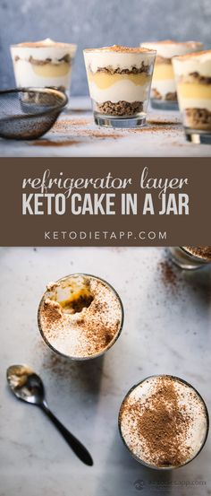 These ice box style low-carb cakes are made with layers of crumbled keto graham crackers, sugar-free creme anglaise and whipped cream. Desserts To Make, Low Carb Desserts, Healthy Desserts, Bon Dessert, Dessert Recipes, Keto Recipes, Dessert Ideas, Cookie Recipes, Graham Crackers