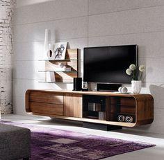 Beautiful entertainment unit in walnut / Meuble Tv en noyer White Tv, Entertainment Room, Repurposed, Living Room Decor, Master Bedroom, Interior, Tv Design, Furniture, Zoom