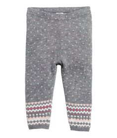 Gray. Jacquard-knit leggings in a soft cotton and viscose blend with an elasticized waistband and ribbed hems.