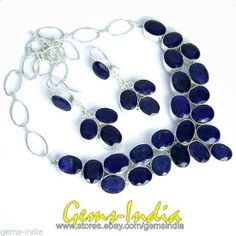 395 CT 78+g SAPPHIRE.925 STAMPED SILVER NECKLACE W 121+ CT/24+G EARRINGS JEWELRY